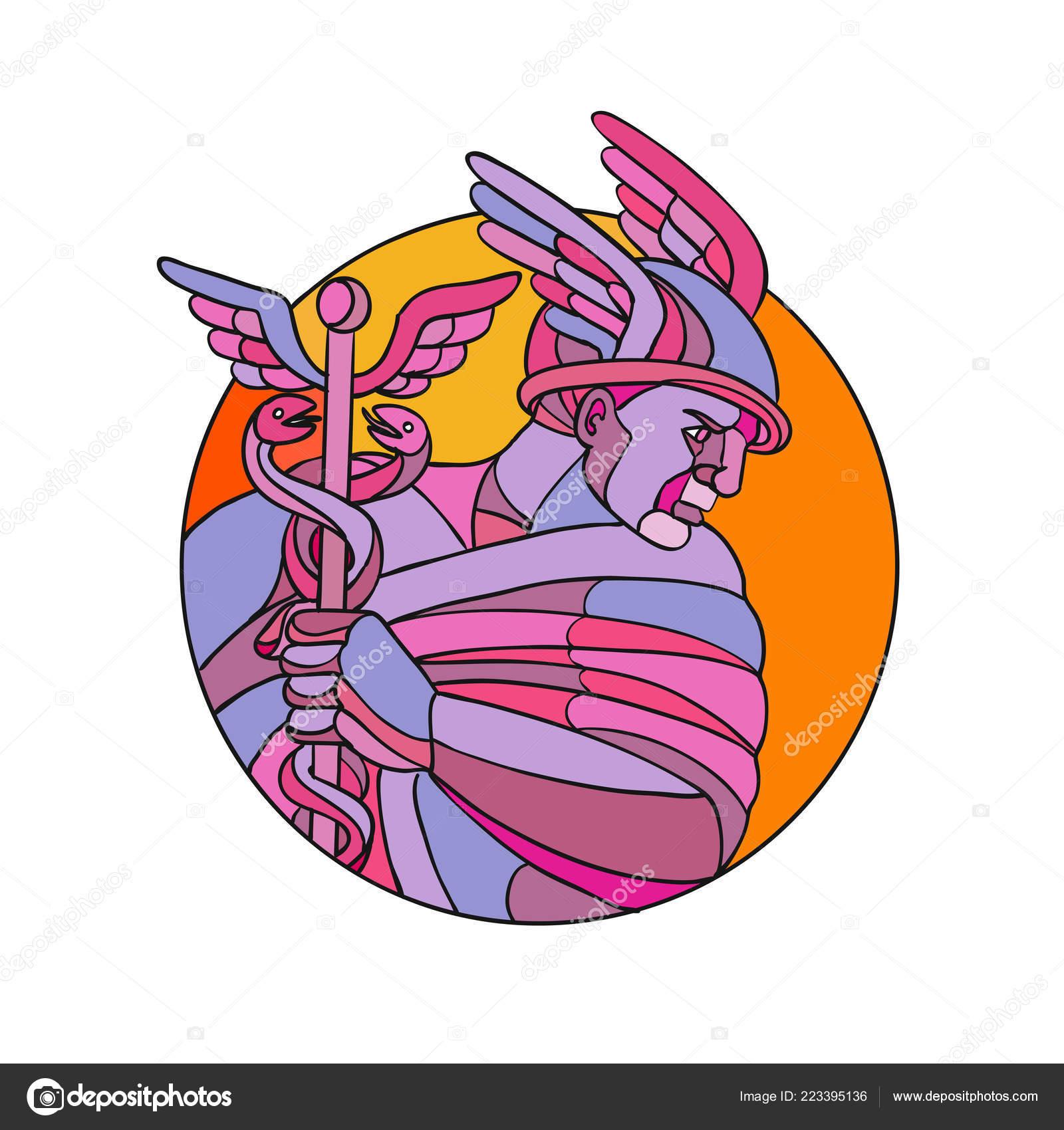 Ilustración Estilo Mosaico Polígono Bajo Mercurio Dios Romano Los