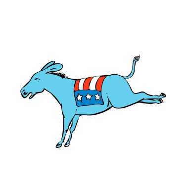 Drawing sketch style illustration of a donkey or jackass mascot with American USA stars and stripes flag on back kicking on isolated white background.