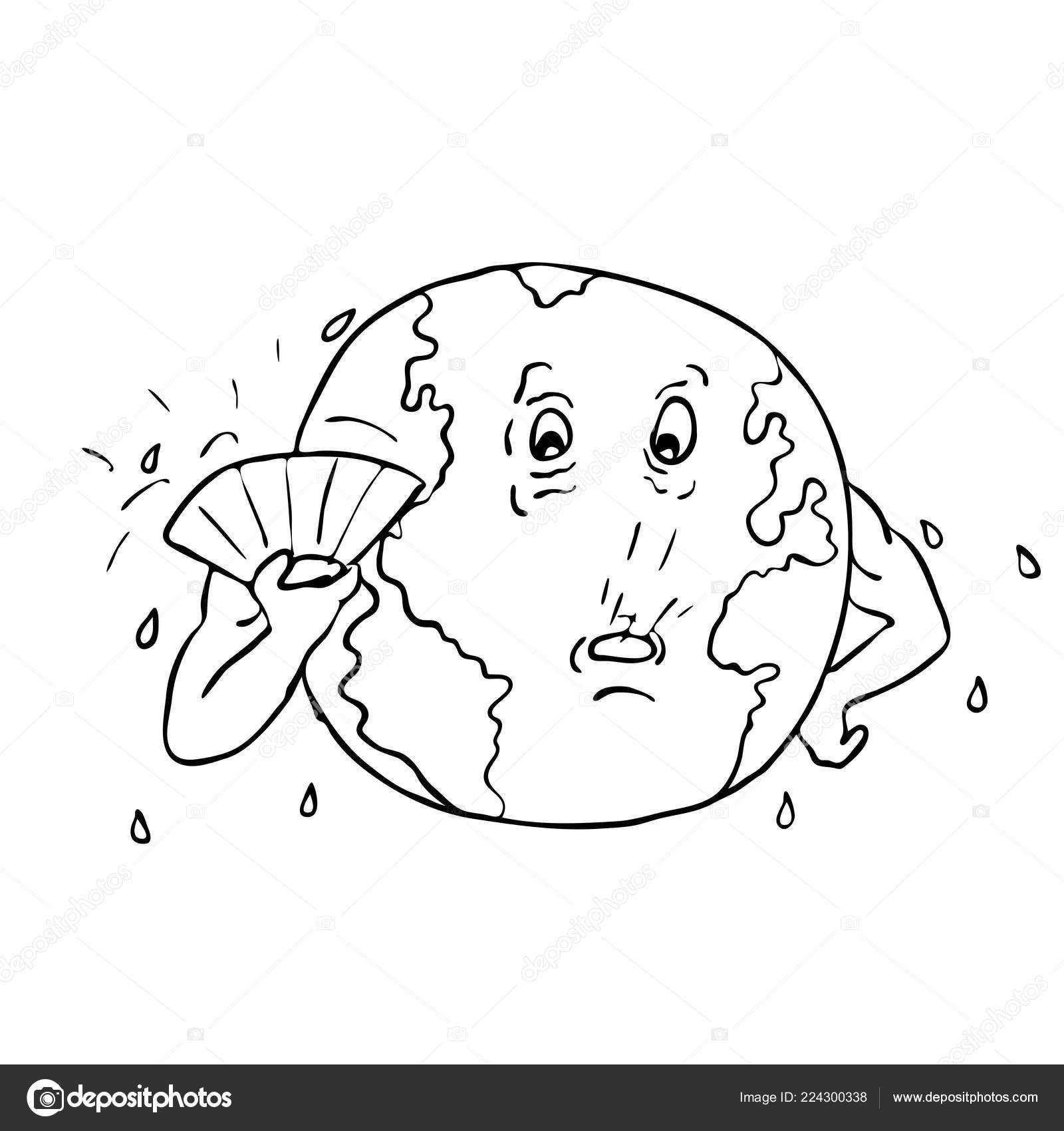Noir Blanc Dessin Croquis Style Illustration Planète Terre Avec