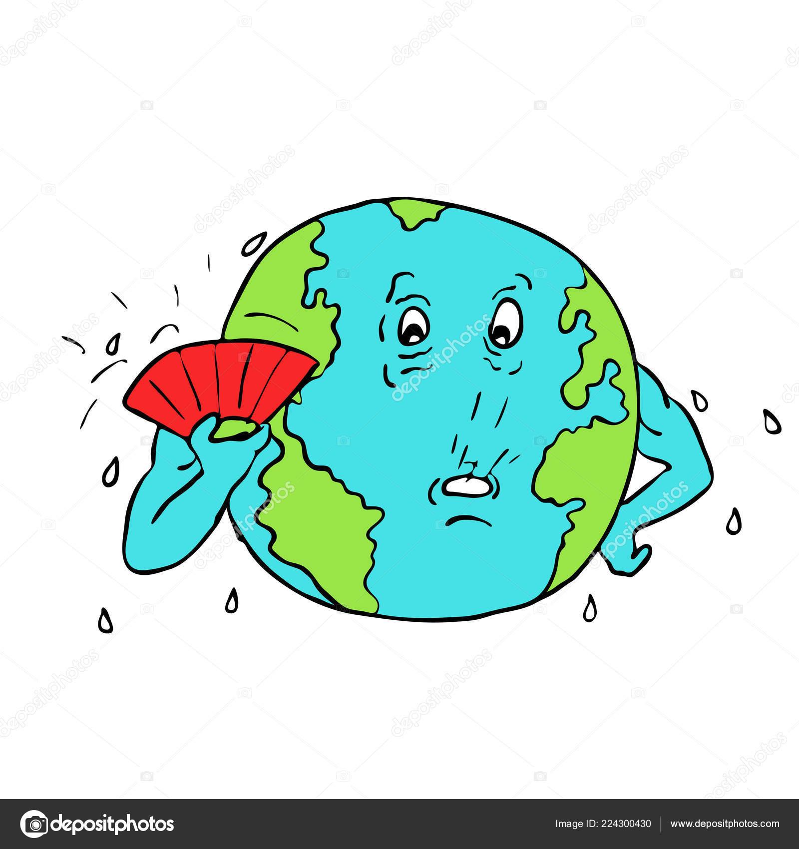 Dessin Croquis Style Illustration Planète Terre Avec Ventilateur