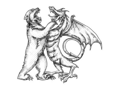 Tattoo style illustration of a  Chinese dragon wrestling, jousting, sparring or fighting a grizzly bear on isolated white background done in black and white greyscale