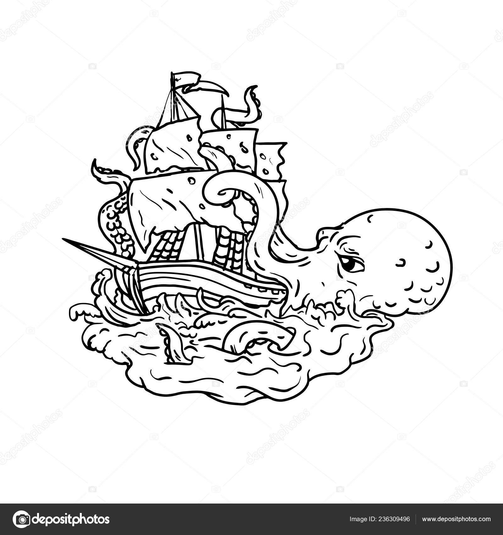 Doodle Ilustración Arte Kraken Monstruo Mar Gigante Legendario