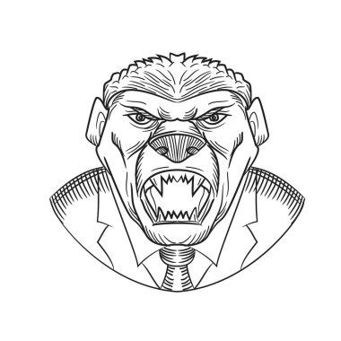 Drawing sketch style illustration head of an angry and aggressive honey badger wearing a coat and tie or business suit viewed from front on isolated white background in black and white.