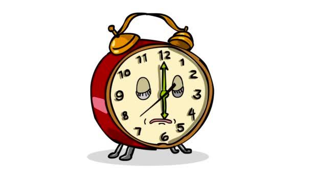 2d-Animation Zeichentrickfigur eines schlafenden Vintage-Weckers, der Wecker klingelt und auf weißem und grünem Bildschirm mit Alpha-Matte in HD-High-Definition aufwacht.