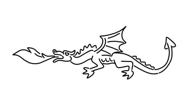 2D animovaná monolinové kresba středověkého draka dýchání na bílé a zelené obrazovce s alfa Matrem v HD High Definition.