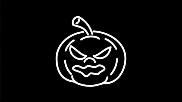2D animace animovaná grafika monolinová kresba Halloweenské dýně zubící se, směje se na bílou, černou a zelenou obrazovku ve vysokém rozlišení HD.