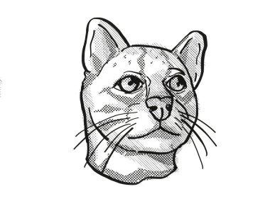 Oncilla or northern tiger cat Endangered Wildlife Cartoon Retro