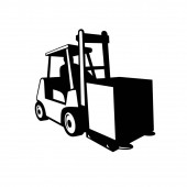 Photo Black and white retro style illustration of forklift truck, powered industrial truck, in operation viewed from front on isolated background
