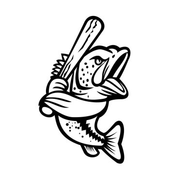 Black and white mascot illustration of a largemouth bass, bucketmouth or bigmouth bass with baseball bat batting viewed from side on isolated background in retro style.