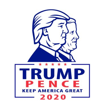 Aug 18, 2020, AUCKLAND, NEW ZEALAND: Illustration of American president and vice president for US election Republican Donald Trump and Mike Pence with words Trump Pence 2020 Keep America Great.