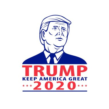 Aug 31, 2020, AUCKLAND, NEW ZEALAND: Illustration of 45th and current president of the United States, Republican Donald Trump with words Trump Keep America Great 2020 for American election campaign.