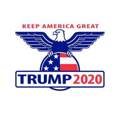 Sep 4, 2020, AUCKLAND, NEW ZEALAND: Illustration of Republican Donald Trump campaign ticket for American president in US election with words Keep America Great Trump 2020 with bald eagle wings spread.