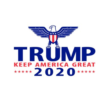 Sep 4, 2020, AUCKLAND, NEW ZEALAND: Illustration of Republican Donald Trump campaign ticket for American president in US election with words Trump 2020  Keep America Great with bald eagle wings spread.