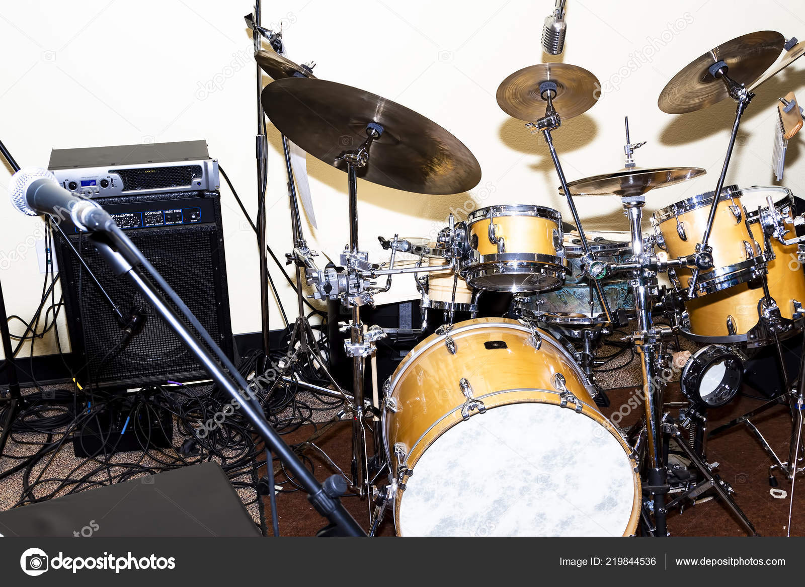 Drum Kit Cymbals Mic Speack Cables Set Performance Stock Photo