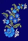 Malovaná karta s ukrajinským ornamentem, Petrikovskaya malba s květinami pro design