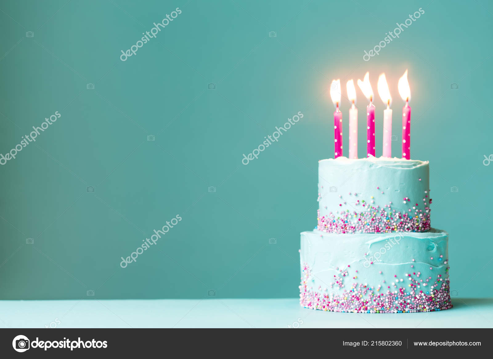 Tiered Birthday Cake Pink Candles Sprinkles Stock Photo