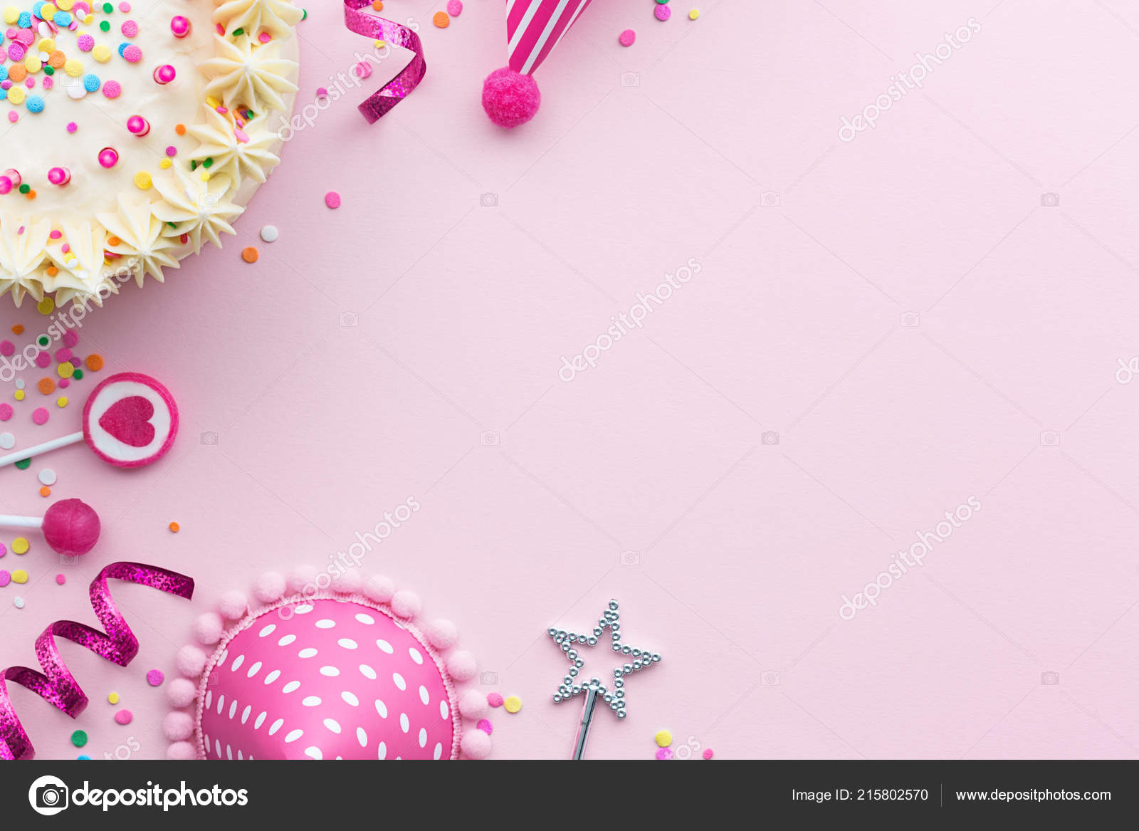 Background Pink Birthday Backgrounds Pink Birthday Party Background Birthday Cake Party Hats Stock Photo C Ruthblack 215802570