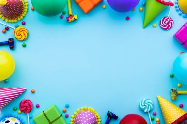 Birthday party background with party hats and candy