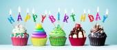 Színes születésnapi cupcakes