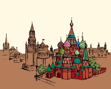 Aged scenic st. Vasily Blessed street view at vintage spasskaya downtown place. Bright color hand drawn picture symbol in art retro doodle graphic style with space for text on yellow evening sky backdrop