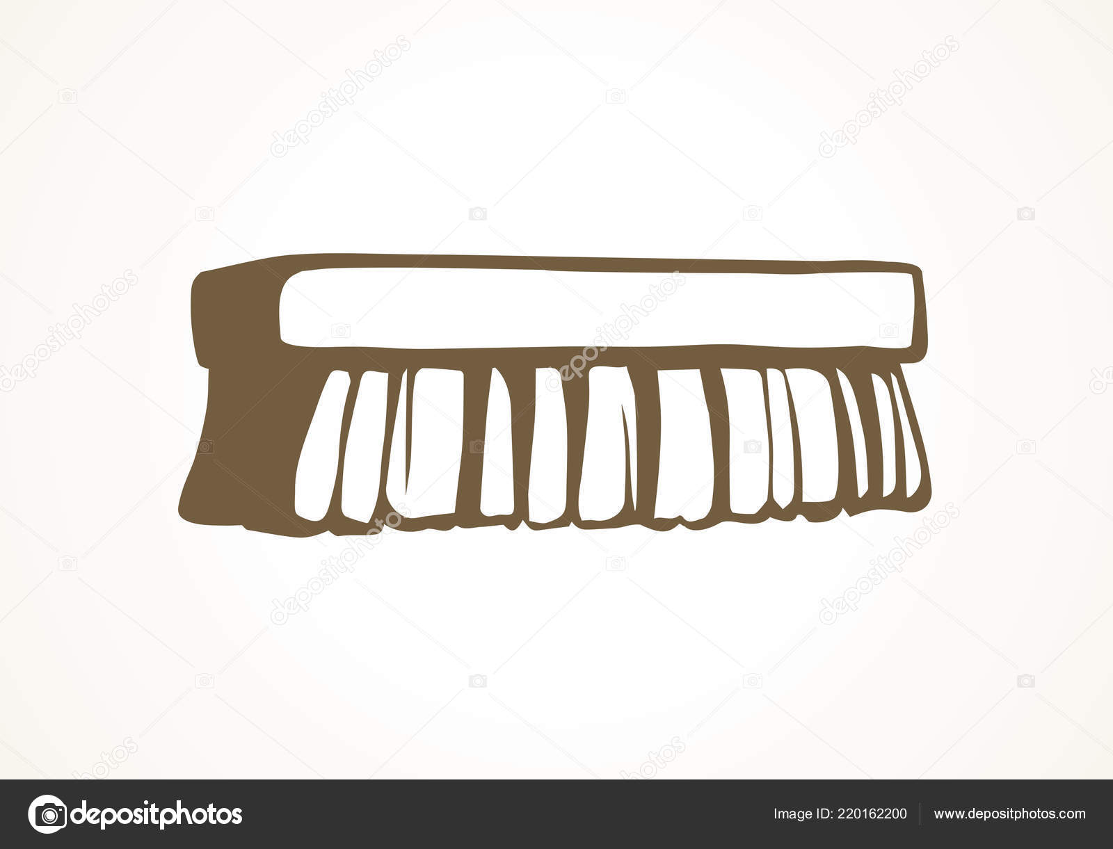 Wooden Wet Scrubber Comb Object White Home Background Outline Black