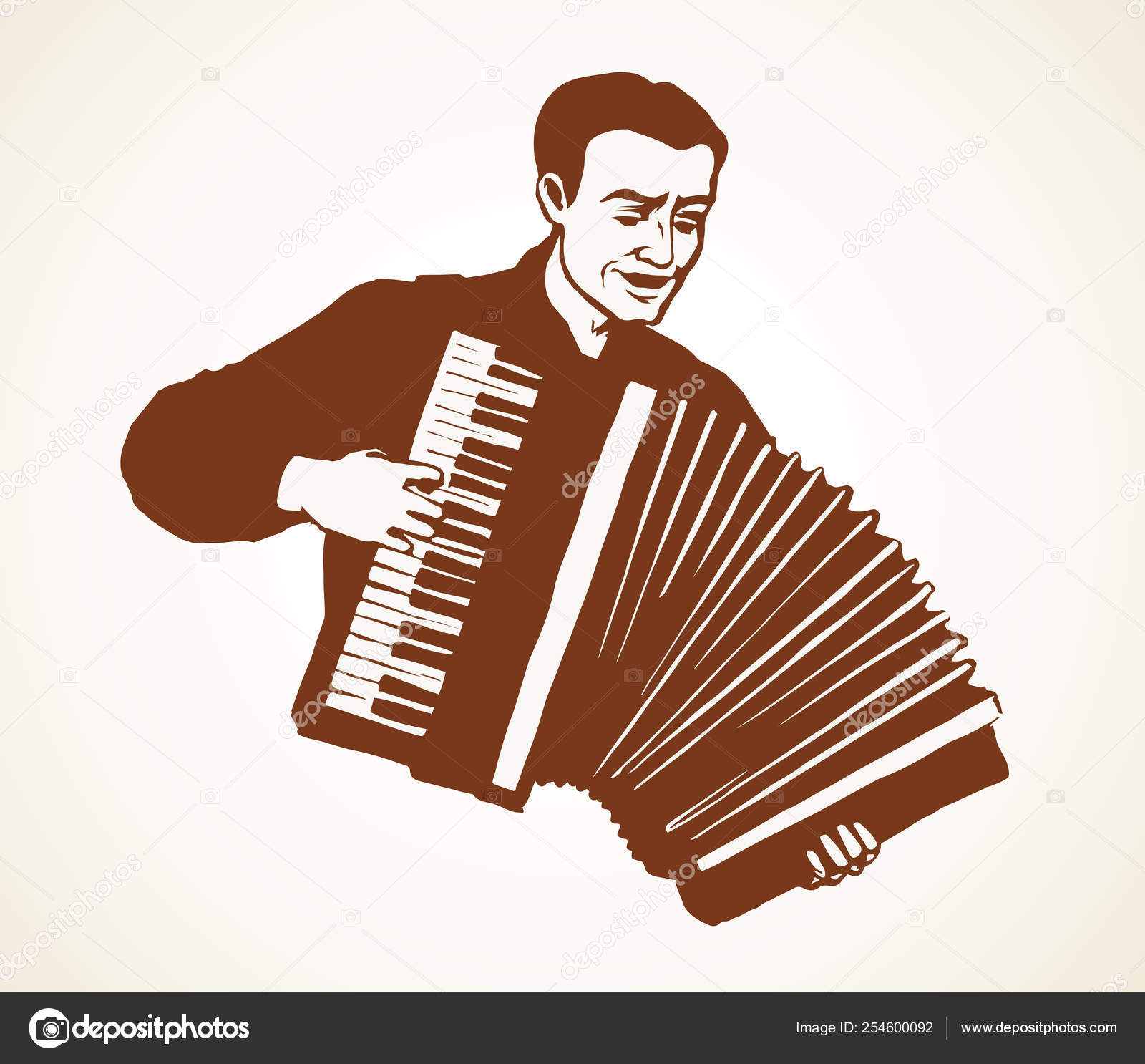 A man plays the accordion  Vector drawing — Stock Vector