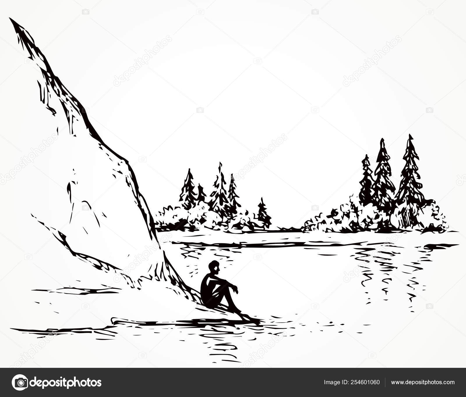 firs on hill above river vector drawing stock vector c marinka 254601060 firs on hill above river vector drawing stock vector c marinka 254601060