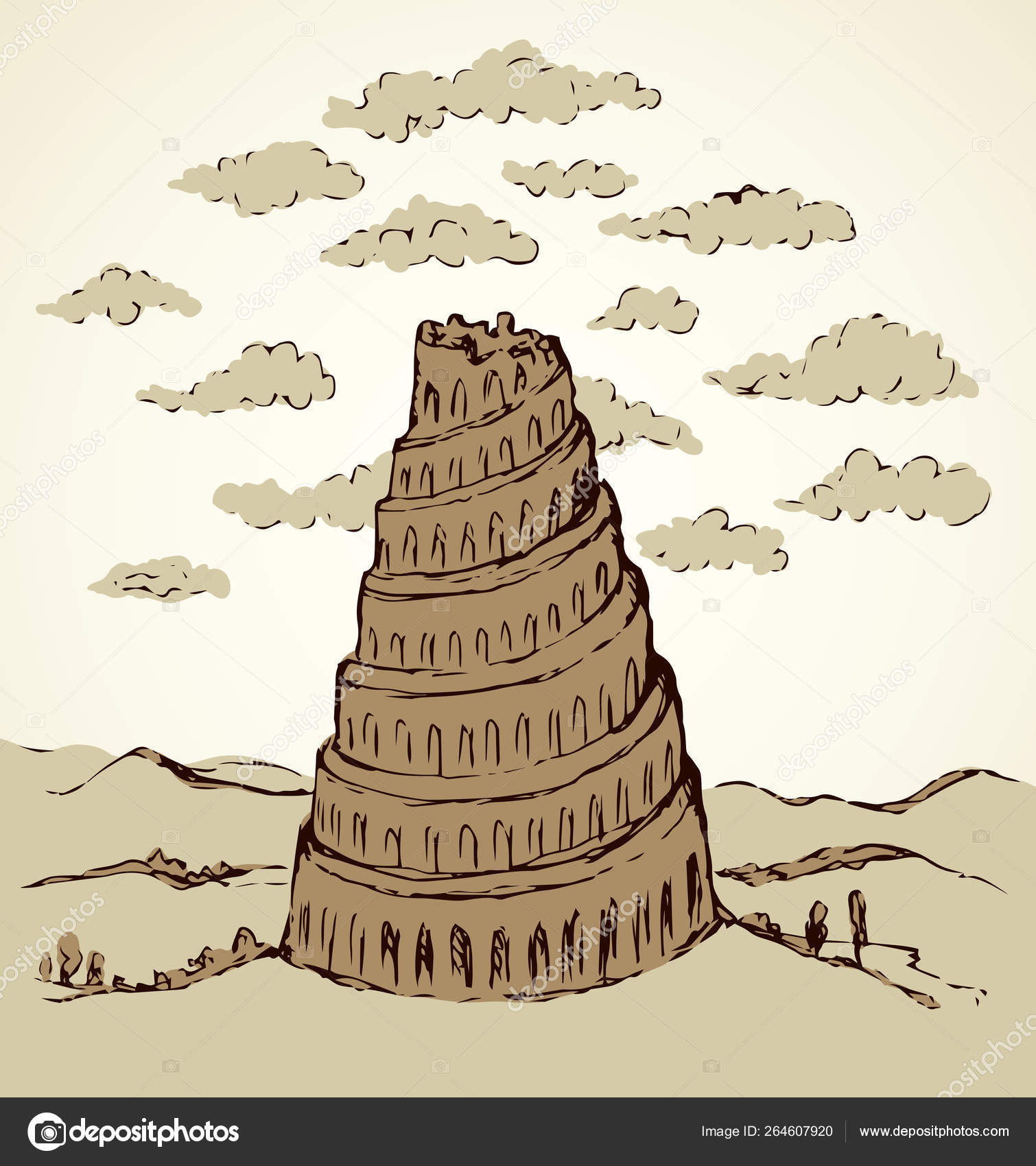 Tower Of Babel Drawing Tower Of Babel Vector Drawing Stock