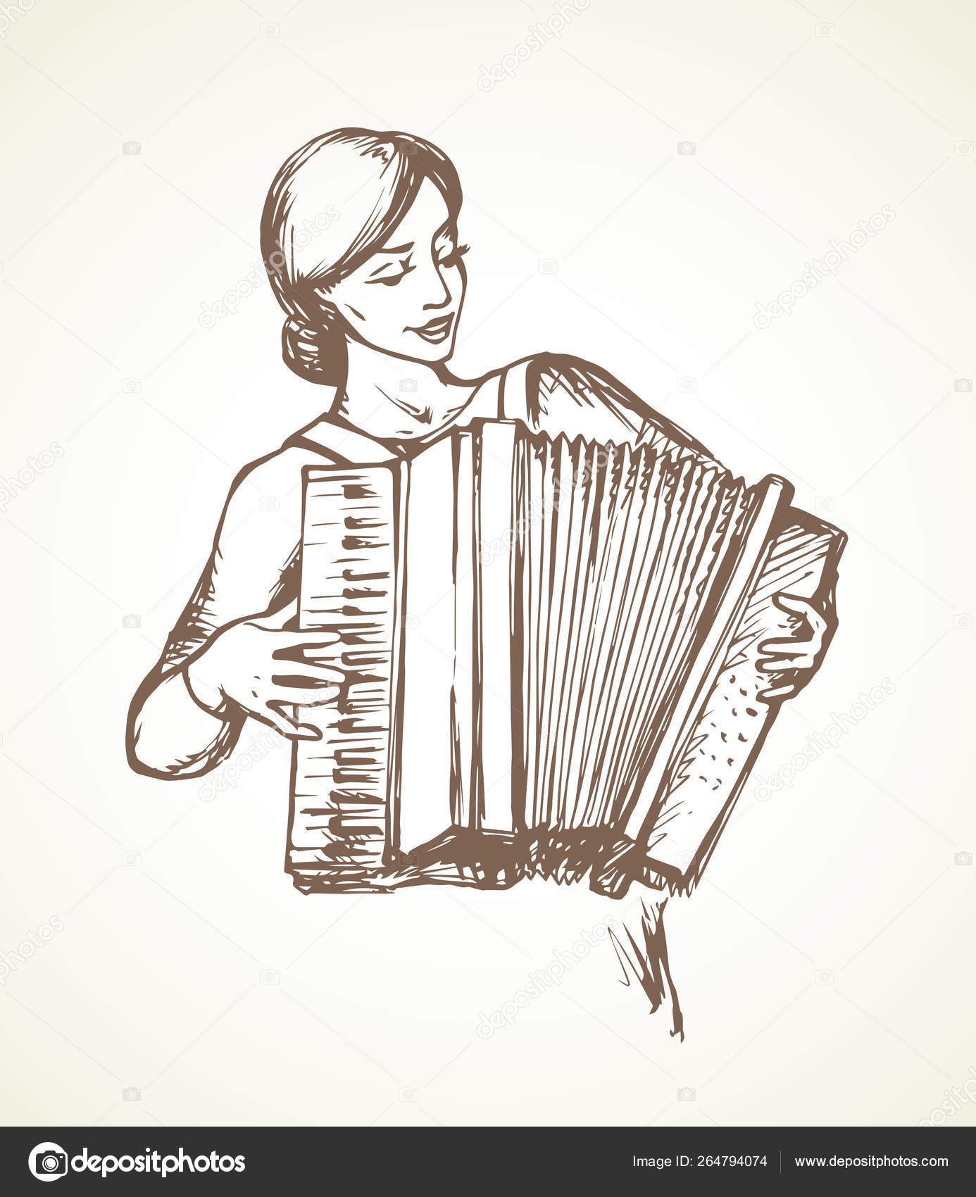 Lady plays the accordion  Vector drawing — Stock Vector
