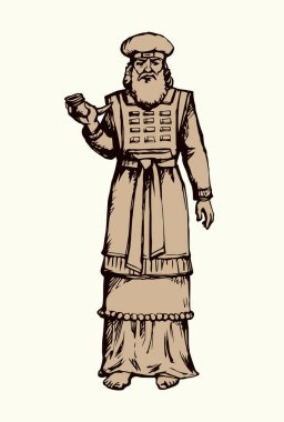 Moses torah historic divine ministry culture. Old bearded Aaron in tunic, turban with horn of anoint oil. Black ink hand drawn judaic levit leader picture sketch in vintage art east engrave silhouette style stock vector