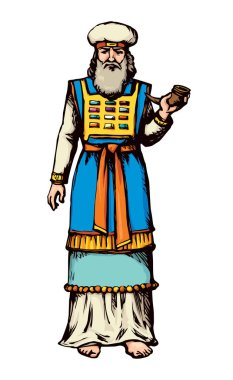 Moses torah historic divine ministry culture. Old righteous bearded Aaron with tunic, turban, horn of anoint oil. Bright blue color hand drawn judaic levit leader picture sketch in vintage east style stock vector