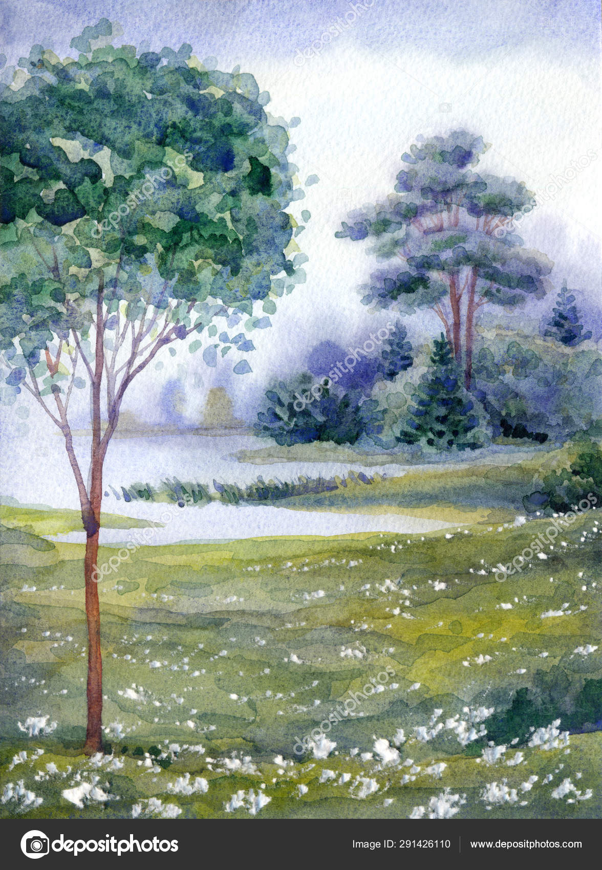 watercolor landscape forest near the lake stock photo c marinka 291426110 https depositphotos com 291426110 stock photo watercolor landscape forest near the html