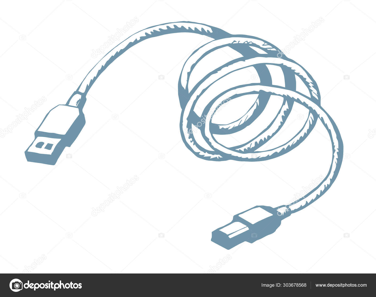 Cord For Charging The Phone Vector Drawing Stock Vector C Marinka 303678568
