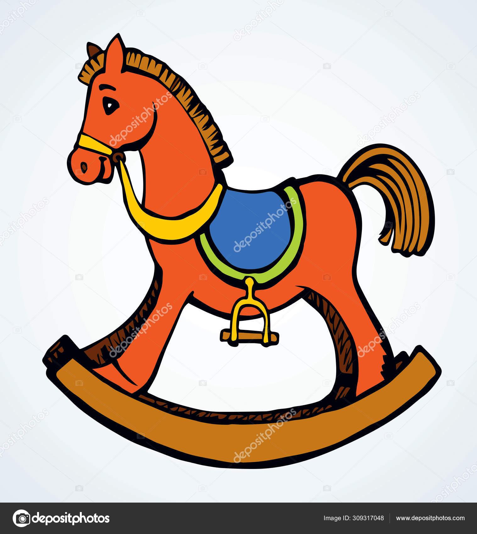 Toy Horse Swing Vector Drawing Stock Vector C Marinka 309317048