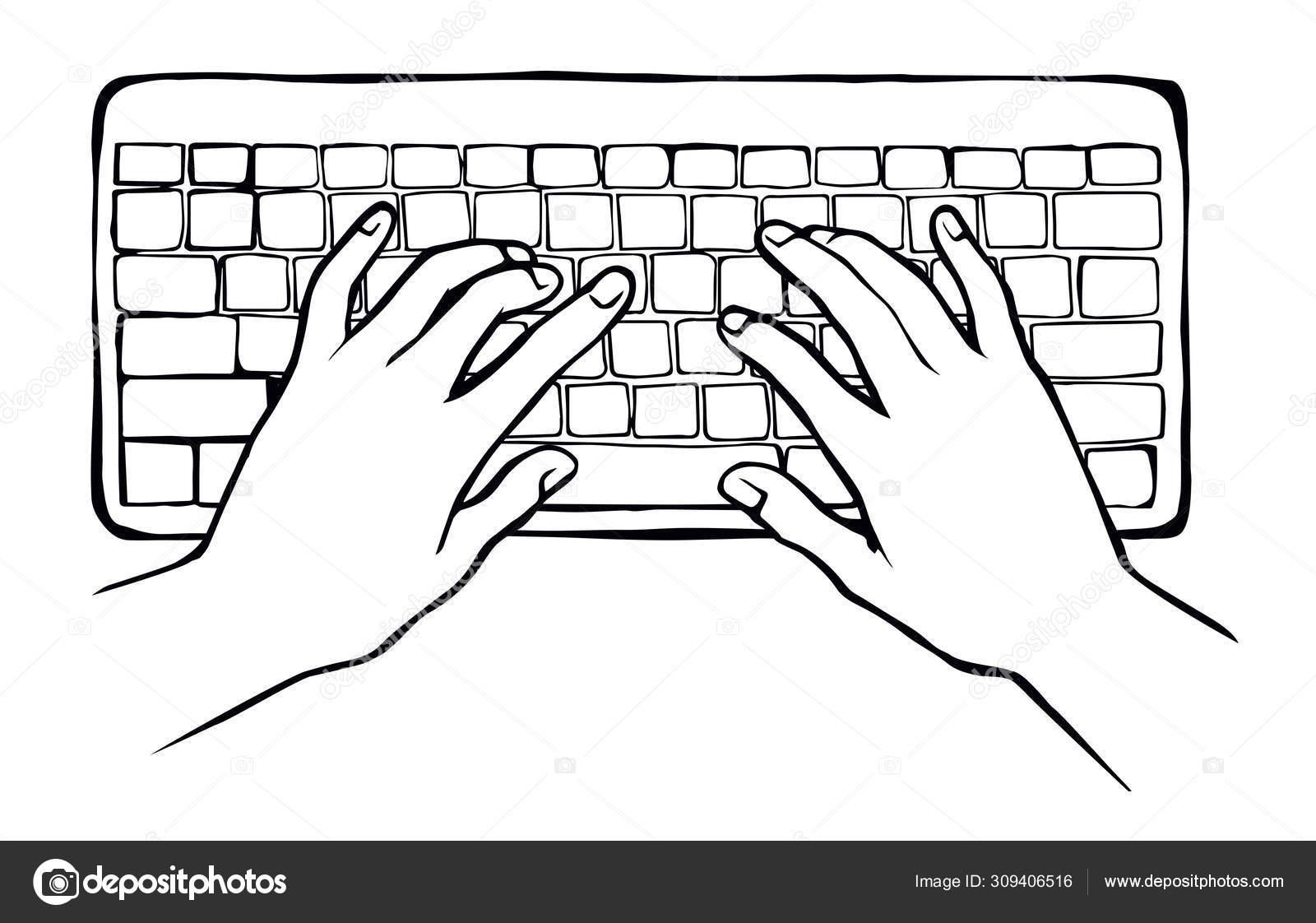 Hands On The Keyboard Vector Drawing Stock Vector C Marinka 309406516