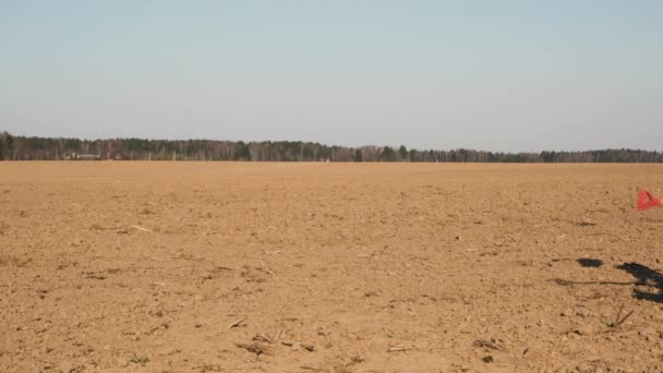 Side view of male farmer with shovel and bucket runs across ploughed field on sunset. Slow motion.