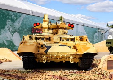 MOSCOW - AUGUST 23: combat vehicle to support tanks on the battlefield at the exhibition site of the International Military-Technical Forum