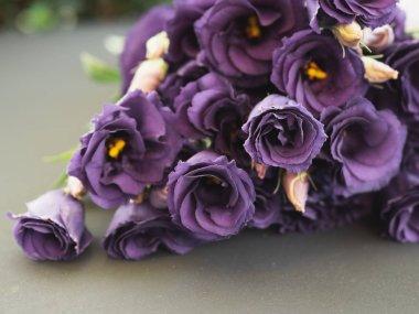 Purple roses. Rose bouquet. Vintage flower arrangement.