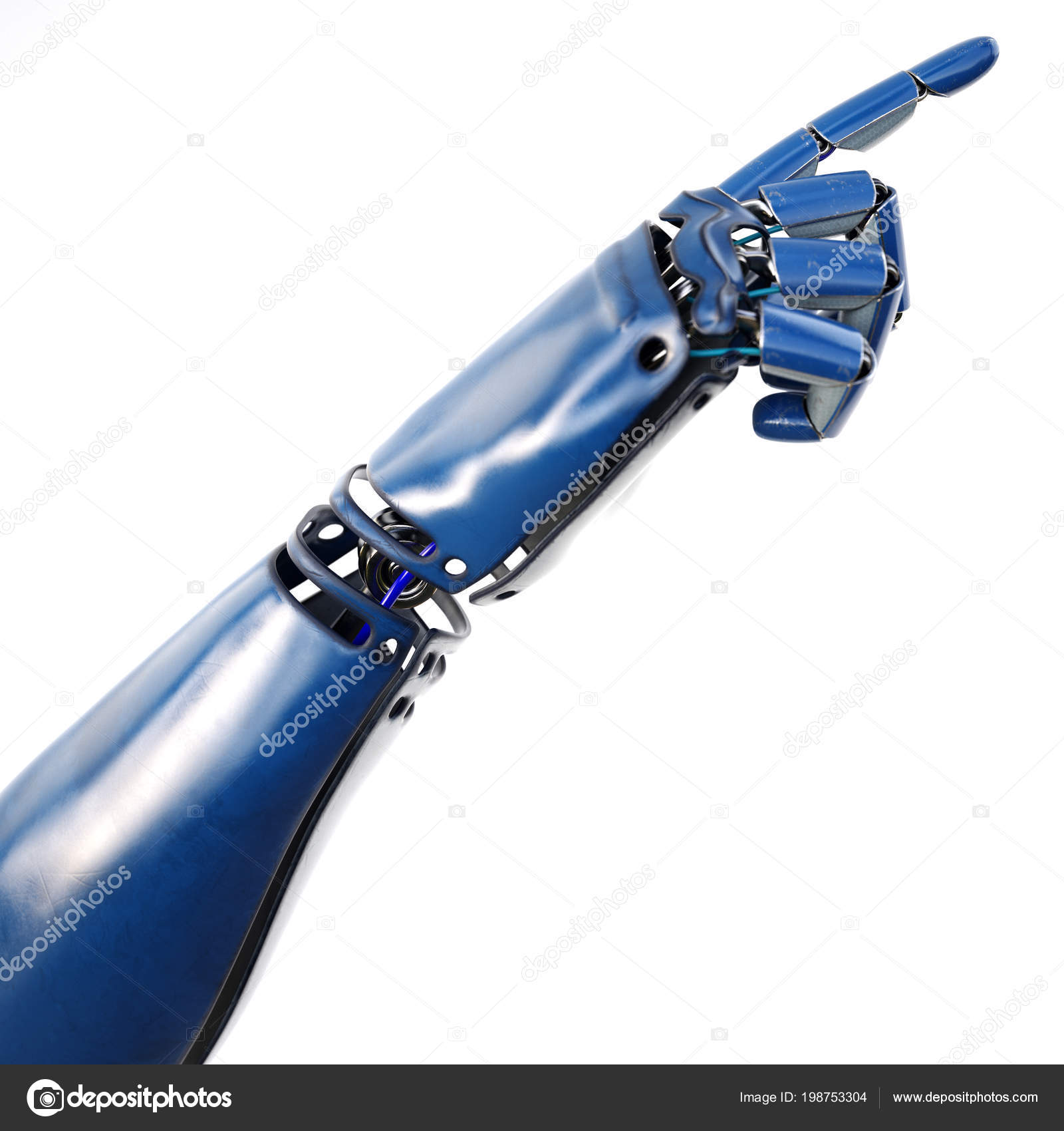 Cybernetic Hand Robot Working Virtual World Futuristic Design