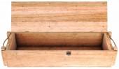 Nyissa meg a fából készült doboz elszigetelt fehér background. 3D-s illusztráció