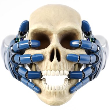 Robot's hand keeps a human skull. isolated on white background. 3D illustration.