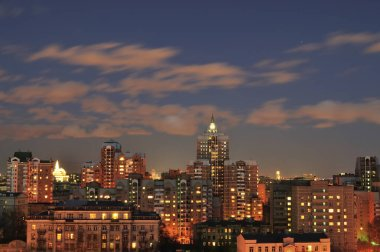 City skyline at night - Moscow, Russia