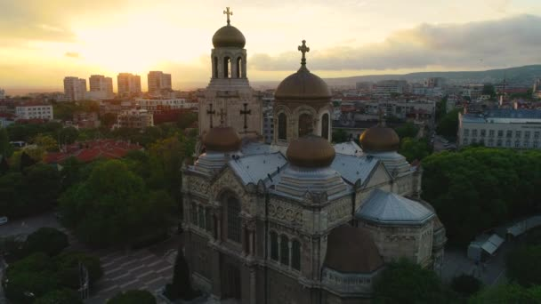 Sunset over The Cathedral of the Assumption in Varna, Bulgaria. Aerial view