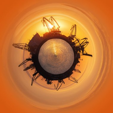 Little planet 360 degree sphere. Colorful sunset over sea port and industrial cranes, Varna, Bulgaria