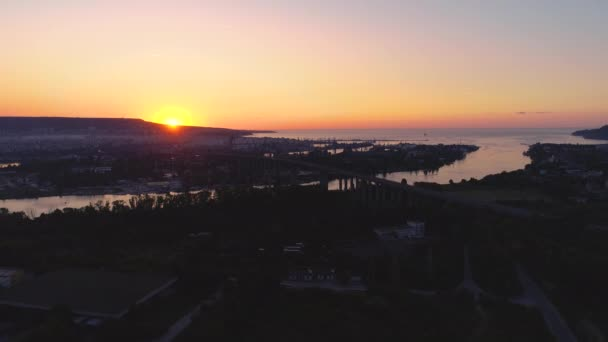 Aerial panorama drone view of Asparuhov bridge. Varna, Bulgaria