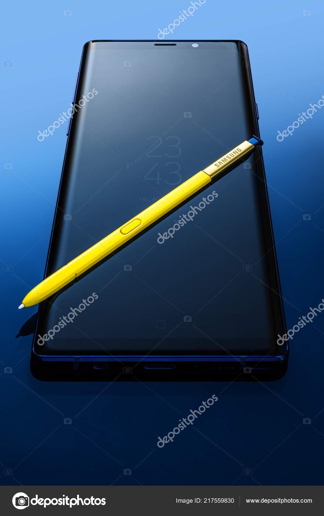 Varna Bulgaria August 2018 Studio Shot Black Samsung Galaxy Note
