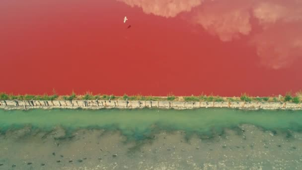 Aerial drone view of salt pans, saltworks near Bourgas, Burgas, Bulgaria