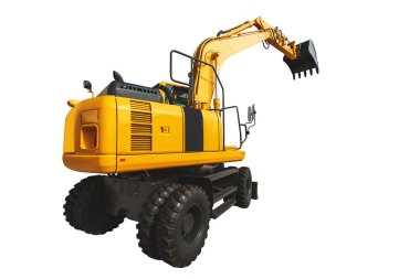 Excavator loader and bucket with clipping path isolated over white background.