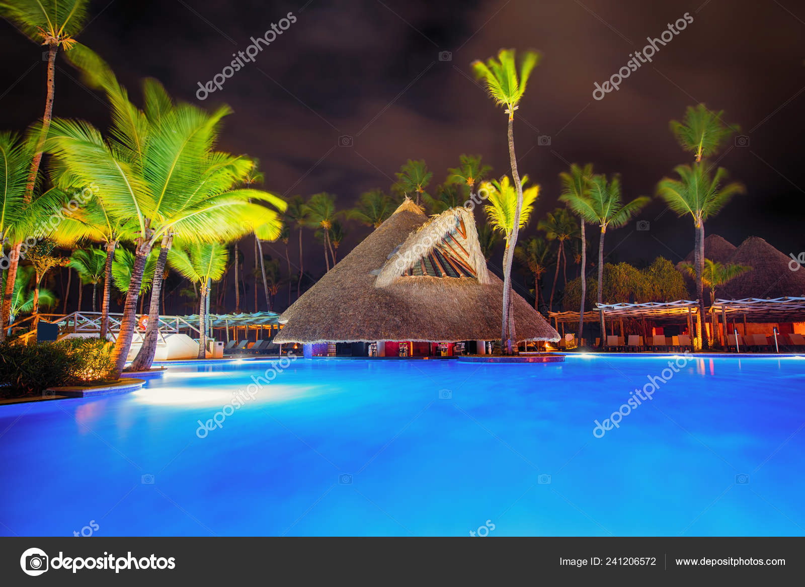 Tropical Swimming Pool Palm Trees Luxury Beach Resort Night