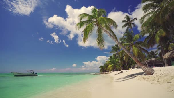 Paradise tropical beach and speed boat. Summer vacation on lonely exotic island